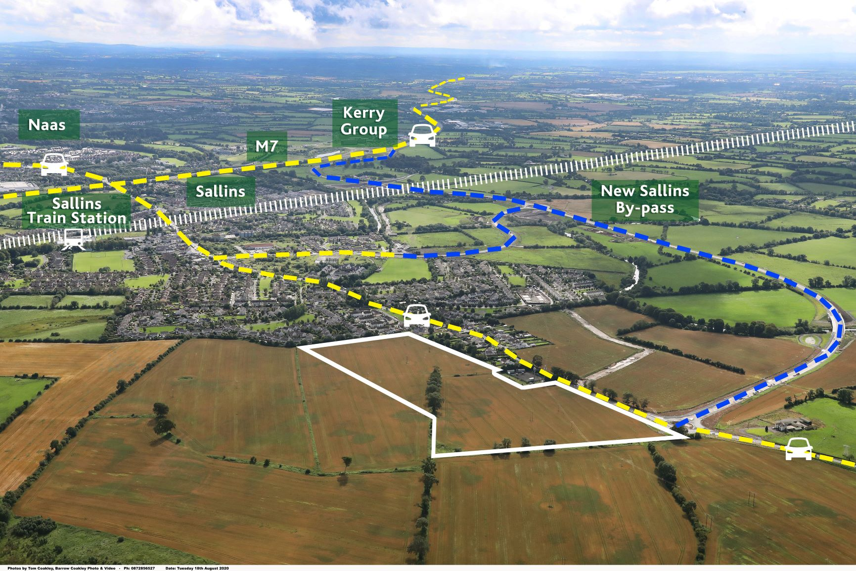 Zoned Industry & Warehousing – approx. 11.8 hectares (29 acres) at Clane Road, Sallins,             Co. Kildare.